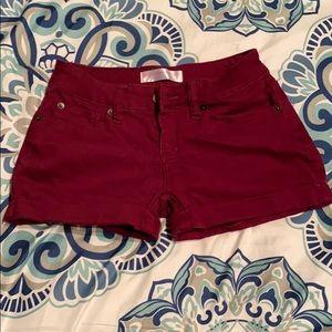 Maroon Jean Shorts